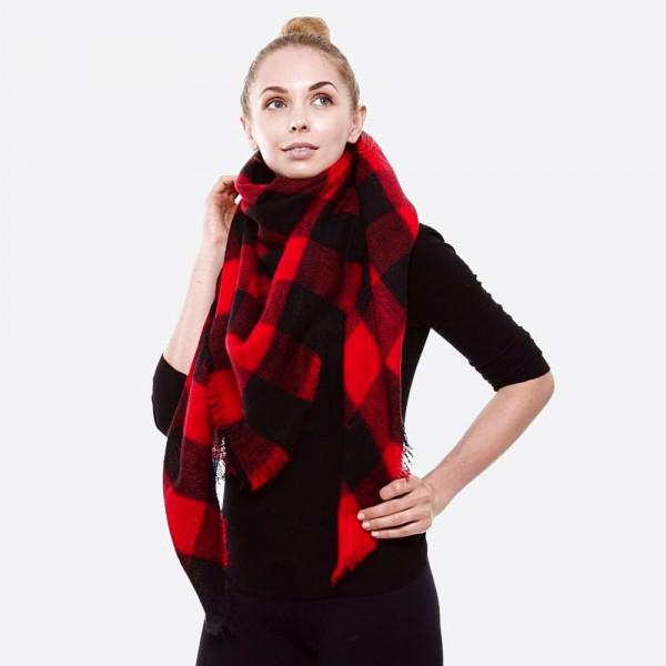 "Buffalo Check Blanket Scarf.  - Approximately 56"" W x 56"" L -  100% Acrylic"