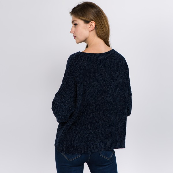 """Solid Chenille Knit Sweater.  - One size fits most 0-14 - Approximately 21"""" L - 100% Polyester"""