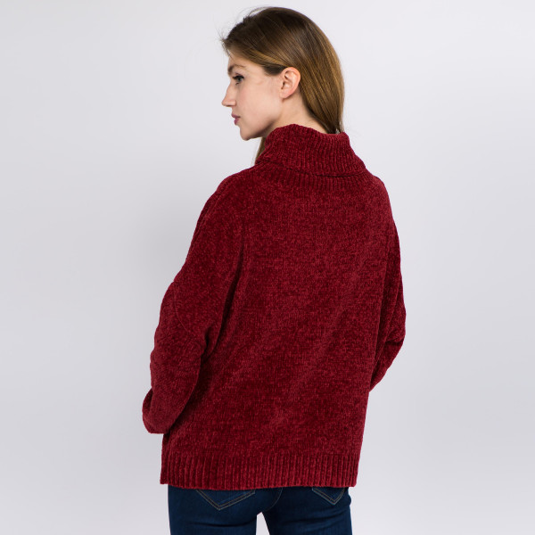 """Solid Chenille Knit Turtleneck Sweater.  - One size fits most 0-14 - Approximately 21"""" L - 100% Polyester"""