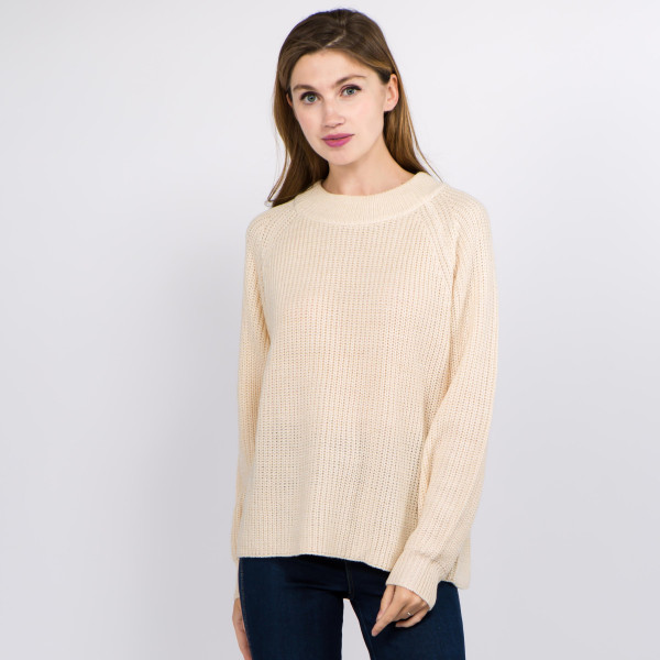 "Solid Color Knit Balloon Sleeve Sweater.  - One size fits most 0-14 - Approximately 22"" L - 100% Acrylic"