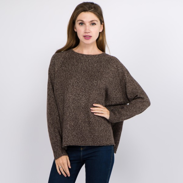 """Solid color heather knitted sweater.  - One size fits most 0-14 - Approximately 23"""" in length - 100% Polyester"""
