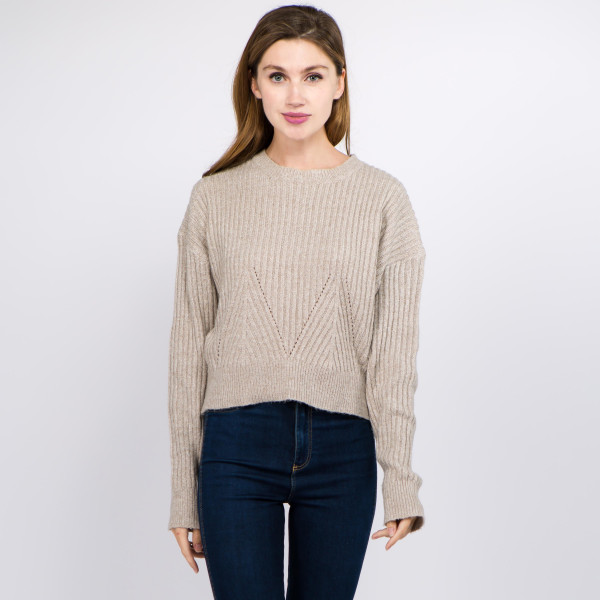 """Solid Heather Knit Crop Sweater.  - One size fits most 0-14 - Approximately 19"""" L - 100% Polyester"""