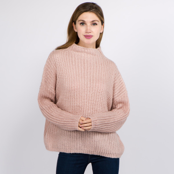 """Solid Color Chunky Knit Turtleneck Sweater.  - One size fits most 0-14 - Approximately 22"""" L - 100% Acrylic"""