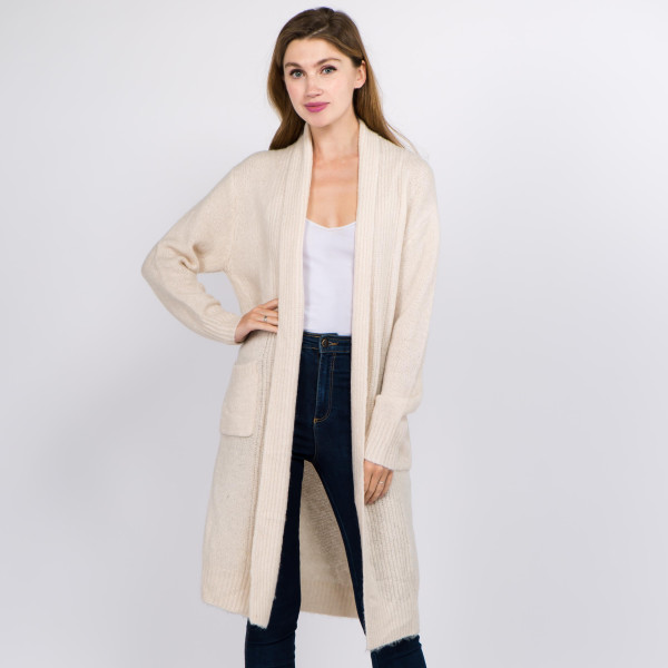 Wholesale solid Soft Knit Maxi Cardigan Pockets One fits most L Acrylic Polyamid