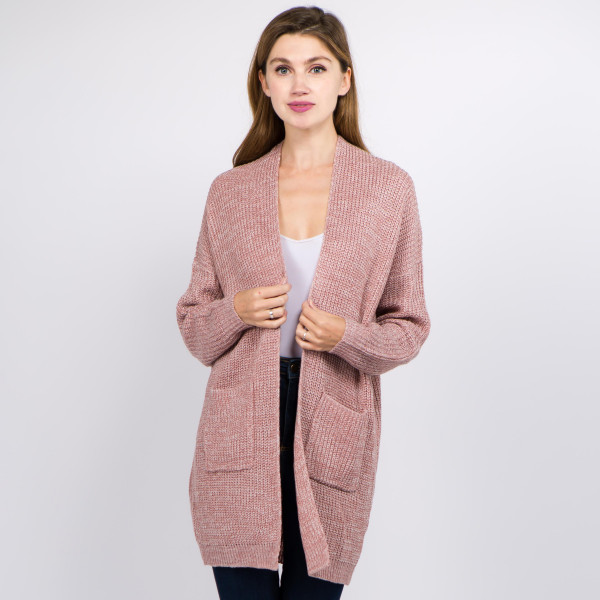 """Solid color heather knitted cardigan with front pocket details.  - One size fits most 0-14 - Approximately 31"""" in length  - 100% Acrylic"""