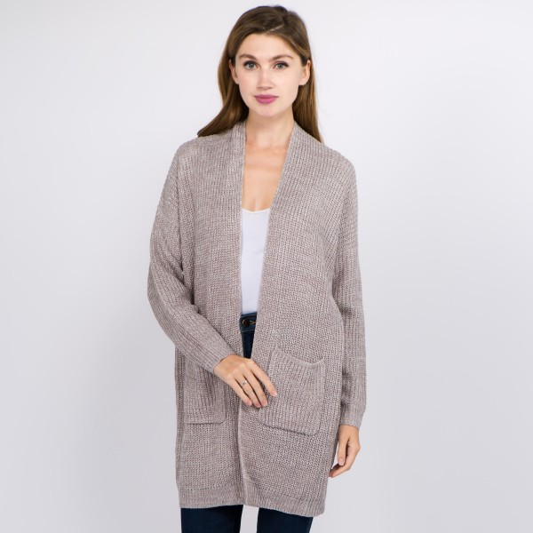 Wholesale solid Heather Knit Cardigan Pockets One fits most L Acrylic