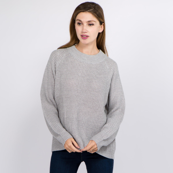 Wholesale solid Heather Knit Sweater One fits most L Acrylic