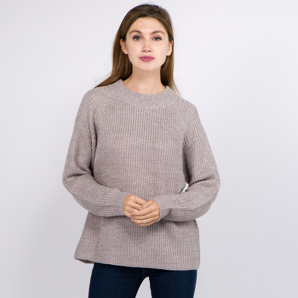 """Solid Heather Knit Sweater.  - One size fits most 0-14 - Approximately 23"""" L - 100% Acrylic"""