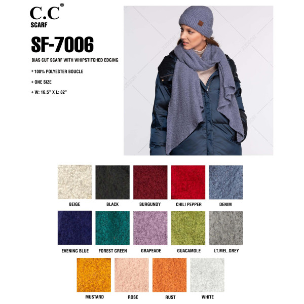 """C.C SF-7006 Bias Cut Scarf Featuring Whipstitch Trim.  - 100% Polyester - Boucle texture - One size fits most - 16.5"""" W x 82"""" L - Matches C.C HAT-7006 and G-7006"""