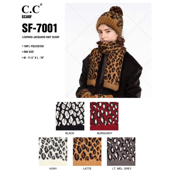 """C.C SF-7001 Leopard Print Jacquard Knit Scarf.  - 100% Polyester - One size fits most - W:11.5"""" X L:70"""" - Matches C.C HAT-7001, HW-7001 and CG-7001"""