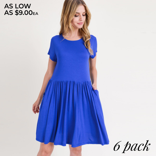 """Solid short sleeve babydoll dress with front pocket details. Approximately 34"""" in length.  • Short sleeves  • Round neckline  • Two open side seam pockets  • Flare hem  • Soft and stretchy  • Knee length  • Perfect for styling with sandals or wedges  • Imported   - Pack Breakdown: 6pcs / pack  - Sizes: 2S / 2M / 2L  - Composition: 95% Rayon, 5% Spandex"""