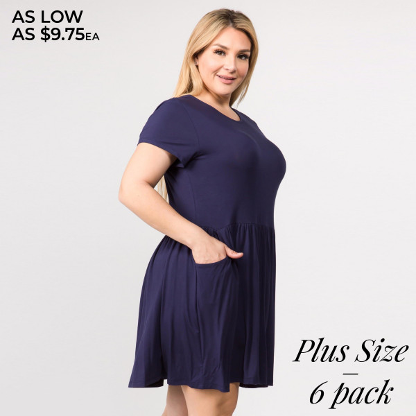 """Solid color short sleeve plus size babydoll dress with front pocket details. Approximately """" in length.  • Short sleeves  • Round neckline  • Two open side seam pockets  • Flare hem  • Soft and stretchy  • Knee length  • Perfect for styling with sandals or wedges  • Imported    - Pack Breakdown: 6pcs / pack   - Sizes: 2-XL / 2-2XL / 2-3XL   - Composition: 95% Rayon, 5% Spandex"""