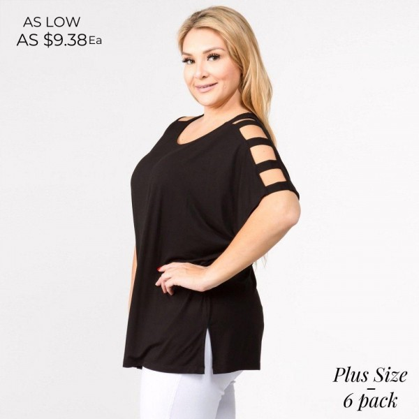 """Solid short sleeve oversized silhouette featuring dolman sleeves with cut out details. Approximately 27"""" in length.  • Short dolman sleeves with cut out detail  • Round neckline  • Side slit accents on hem  • Oversized silhouette  • Soft and comfortable  • Imported    - Pack Breakdown: 6pcs / pack   - Sizes: 2-XL / 2-1XL / 2-2XL   - Composition: 95% Rayon, 5% Spandex"""