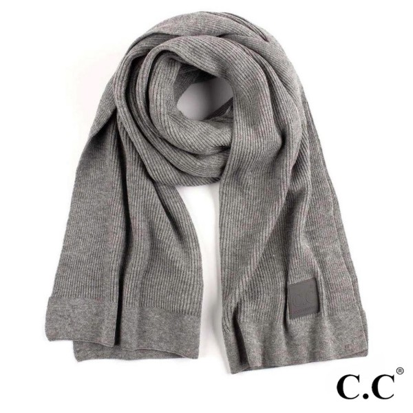 """C.C SF-7007 Solid ribbed knit scarf with C.C rubber patch  - 50% Viscose, 30% Polyester, 20% Nylon - One size fits most - W:15.5"""" X L:78.5"""""""