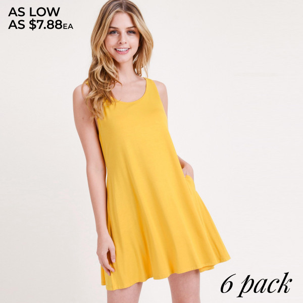"Solid color sleeveless tunic dress featuring a low back with twisted straps and side pocket details. Approximately 28"" in length.  • Sleeveless  • V-neckline  • Two side seam pockets  • Relaxed knee length hem  • Low cut back  • Soft and stretchy  • Imported   - Pack Breakdown: 6pcs / pack  - Sizes: 2M / 2M / 2L  - Composition: 95% Rayon, 5% Spandex"