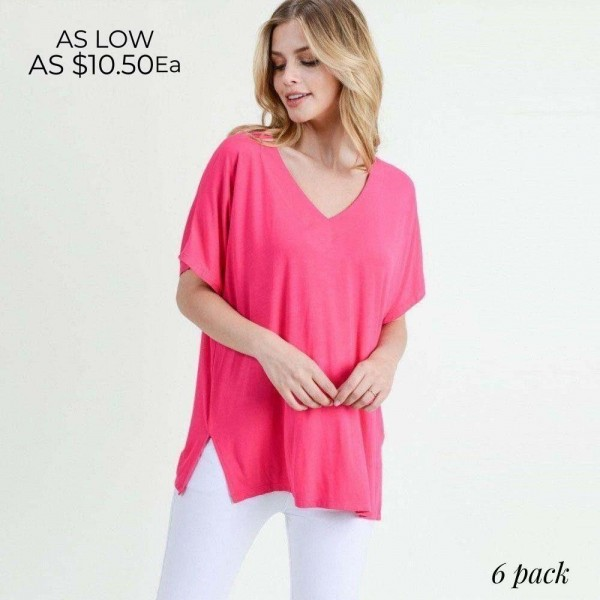 "Ladies Solid Color Short Sleeve Oversized Tee with Side Slit Details.  • Short sleeves, v-neck  • Oversized silhouette  • Side slit accents  • Soft and stretchy  • Pullover styling  • Style with leggings or jeans for an effortless look  • Soft and stretchy  • Imported   - Pack Breakdown: 6pck/pack - Sizes: 2-S / 2-M / 2-L - Approximately 25"" L - 95% Rayon / 5% Spandex"
