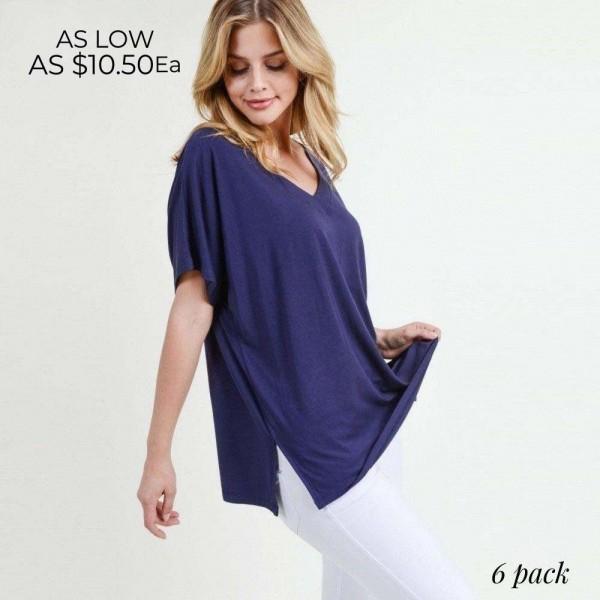 Wholesale ladies Solid Color Short Sleeve Oversized Tee Side Slit Details Pack o