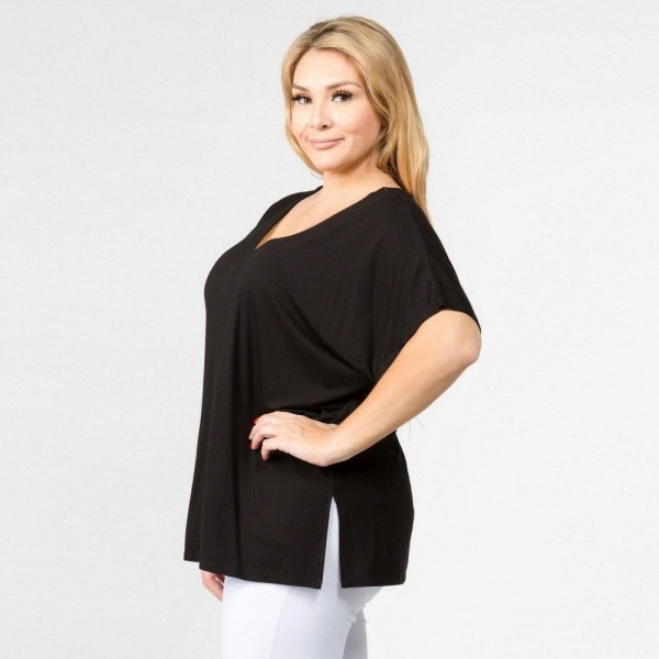 Plus Size Oversized V-Neck Tee Featuring Side Slit Details. (6 PACK)  • Short sleeves, v-neck  • Oversized silhouette  • Side slit accents  • Soft and stretchy  • Pullover styling  • Style with leggings or jeans for an effortless look  • Soft and stretchy  • Imported   - Pack Breakdown: 6 Shirts Per Pack - Sizes: 2-XL / 2-1XL / 2-2XL - 95% Rayon, 5% Spandex