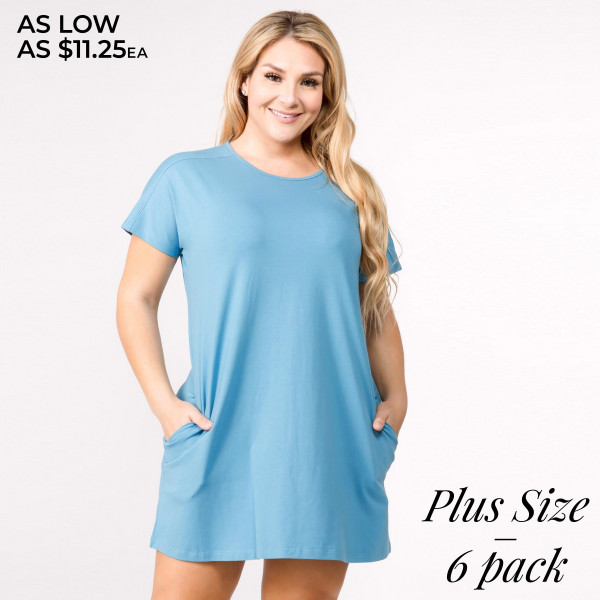 "Solid short sleeve plus size tunic dress with side pockets and cut out back details. Approximately 35"" in length.  • Short sleeves  • Crew Neck with exposed seam detail  • Two open side pockets  • A-line silhouette  • Cut out back detail  • Knee length hem  • Soft and stretchy  • Imported   - Pack Breakdown: 6pcs / pack   - Sizes: 2-XL / 2-1X / 2-2X  - Composition: 92% Cotton, 8% Spandex"