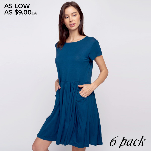 "Solid short sleeve babydoll dress with front pocket details. Approximately 34"" in length.  • Short sleeves  • Round neckline  • Two open side seam pockets  • Flare hem  • Soft and stretchy  • Knee length  • Perfect for styling with sandals or wedges  • Imported   - Pack Breakdown: 6pcs / pack  - Sizes: 2S / 2M / 2L  - Composition: 95% Rayon, 5% Spandex"