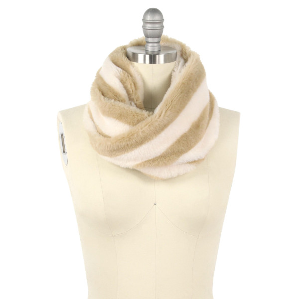 "Faux fur stripe tube scarf.  - Approximately 11.75"" W x 15.75"" L - 100% Polyester"