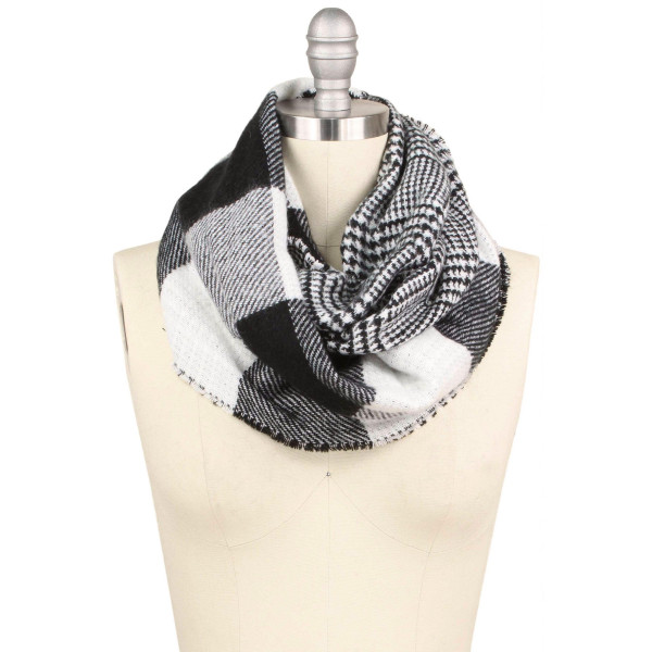 """Buffalo check double side infinity scarf.  - Approximately 15.75"""" W x 31.5"""" L - 100% Acrylic"""