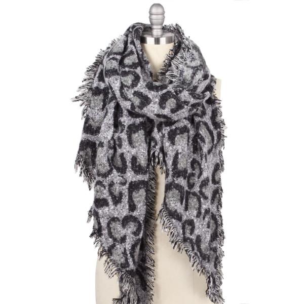 "Leopard Print Bias Cut Shawl/Scarf.  - Approximately 23.5"" W x 70.5"" L - 100% Polyester"