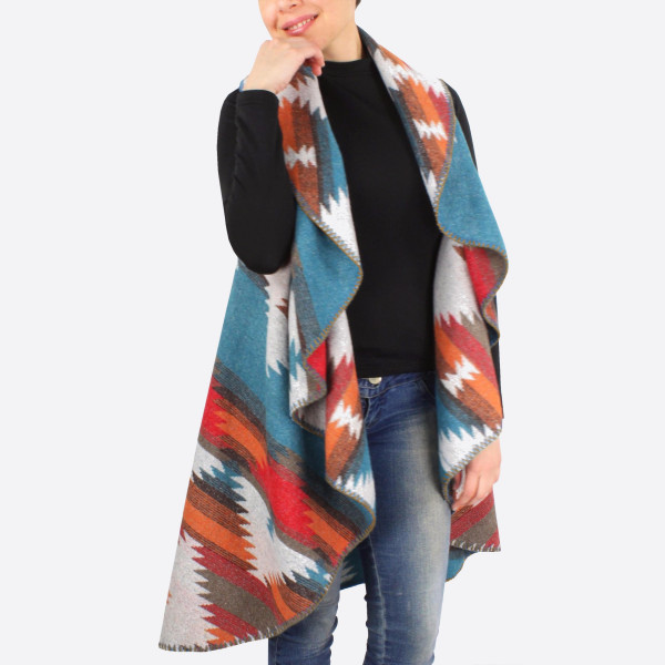 """Reversible Rounded Western Print Vest.  - One size fits most 0-14 - Approximately 44"""" L - 100% Polyester"""