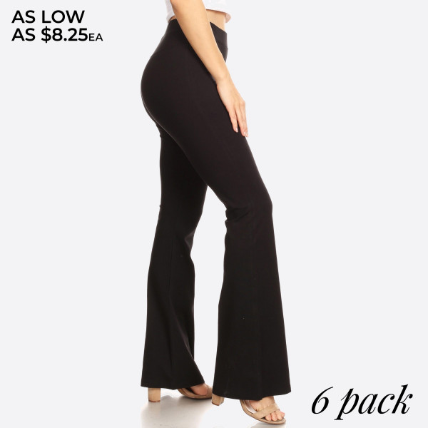 "Solid color high rise flare leggings. Inseam approximately 31"" in length.  • High rise style waist  • Flare hem  • Soft and stretchy fabric  • Perfect for styling with heels or booties  • Imported   - Pack Breakdown: 6pcs / pack  - Sizes: 2S / 2M / 2L  - Composition: 92% Cotton, 8% Spandex"