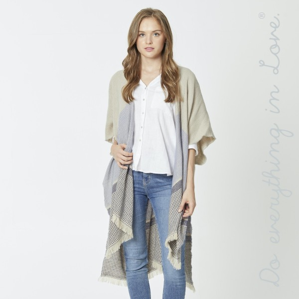 """Do everything in Love Color Block Checkered Print Kimono.  - One size fits most 0-14 - Approximately 35"""" L - 100% Acrylic"""