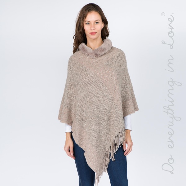 """Do everything in Love Brand Marled Knit Poncho Featuring Faux Fur Neck Trim.  - One size fits most 0-14 - Approximately 36"""" L - 100% Acrylic"""