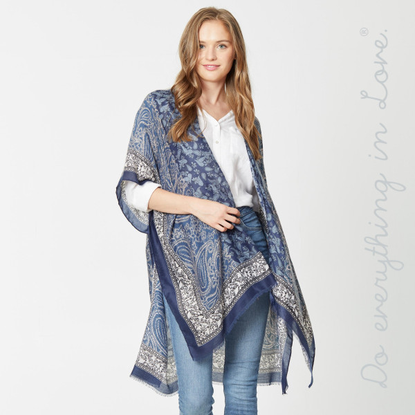 """Do everything in Love Brand Lightweight Mixed Paisley Print Kimono.  - One size fits most 0-14 - Approximately 37"""" L - 100% Viscose"""