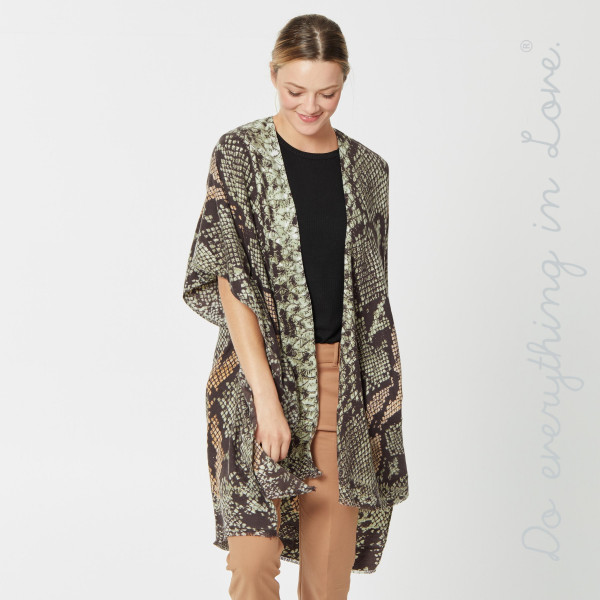 "Do everything in Love Brand Lightweight Snakeskin Kimono.  - One size fits most 0-14 - Approximately 36"" L - 100% Viscose"