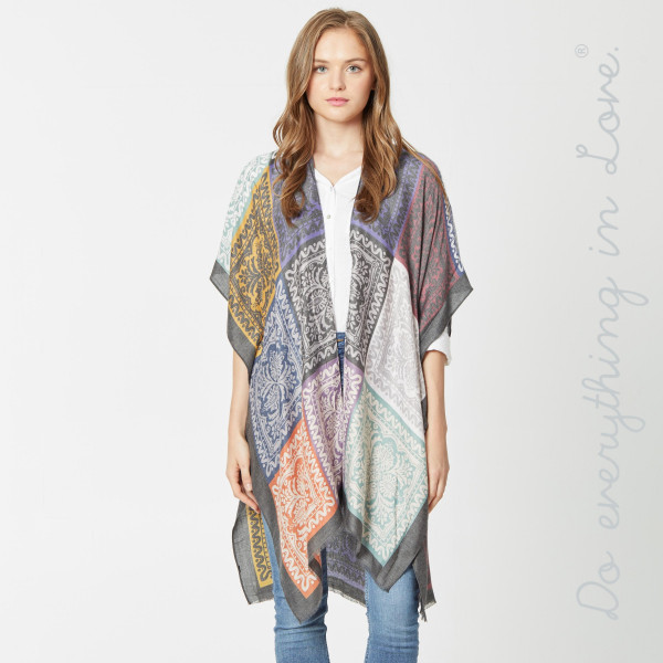 """Do everything in Love brand lightweight damask patchwork kimono.   - One size fits most 0-14 - Approximately 37"""" L - 100% Viscose"""