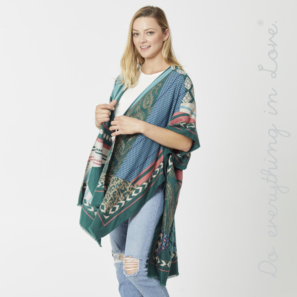 """Do everything in Love Brand Lightweight Multi Geometric Patch Kimono.  - One size fits most 0-14 - Approximately 36"""" L - 100% Polyester"""