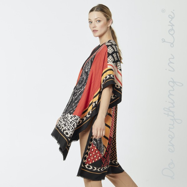 "Do everything in Love Brand Lightweight Multi Geometric Patch Kimono.  - One size fits most 0-14 - Approximately 36"" L - 100% Polyester"
