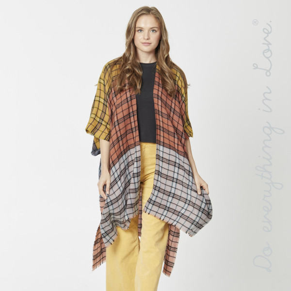 "Do everything in Love Brand Lightweight Plaid Color Block Kimono.  - One size fits most 0-14 - Approximately 37"" L - 100% Acrylic"