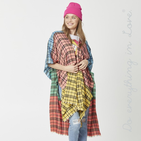 """Do everything in Love Brand Lightweight Plaid Print Color Block Kimono.  - One size fits most 0-14 - Approximately 37"""" L - 100% Acrylic"""