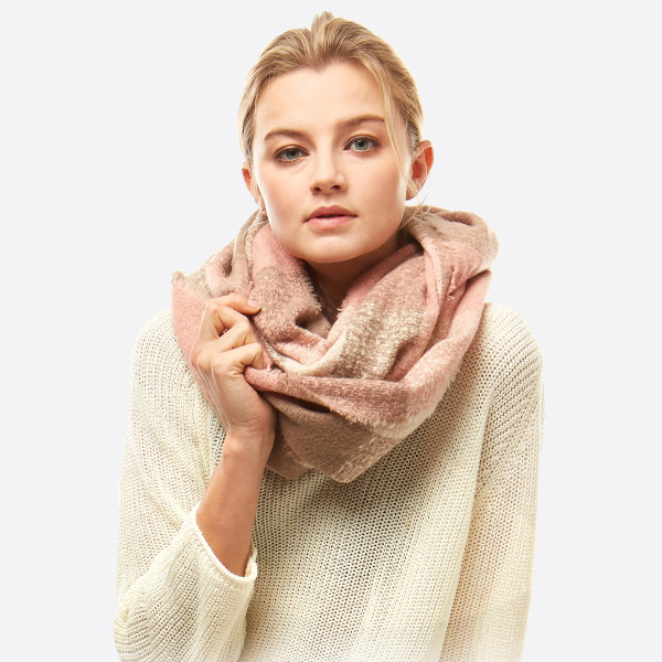 Wholesale soft Touch Boucle Plaid Infinity Scarf W L Polyester