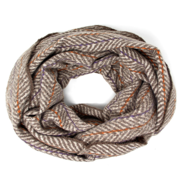 "Herringbone print infinity scarf.  - Approximately 28"" W x 72"" L - 100% Polyester"