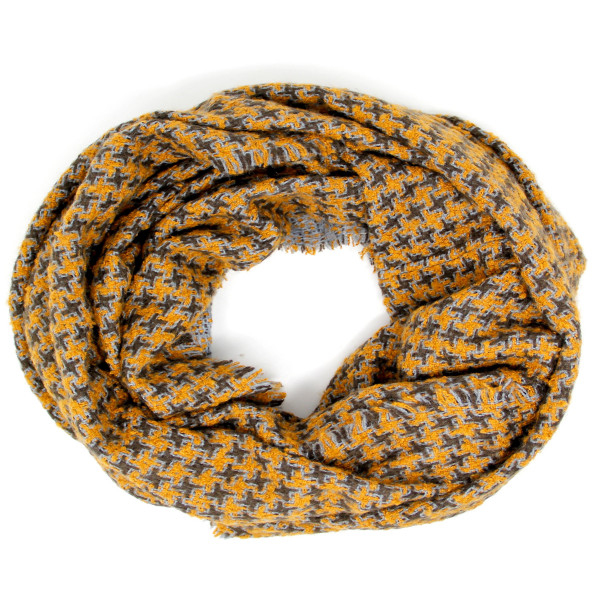"""Houndstooth Print Infinity Scarf.  - Approximately 21"""" W x 33"""" L - 100% Acrylic"""
