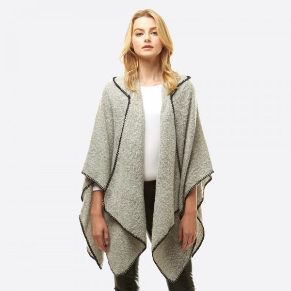 Wholesale soft touch hooded boucle ruana wrap whip stitch trim One fits most Pol