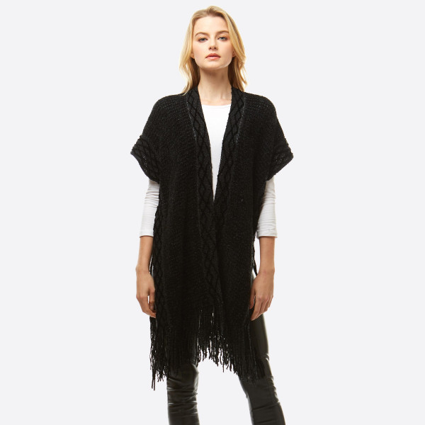 "Women's Chenille Knit Shawl Featuring Fringe Tassel Trim.  - One size fits most 0-14 - Approximately 33"" L - 100% Polyester"