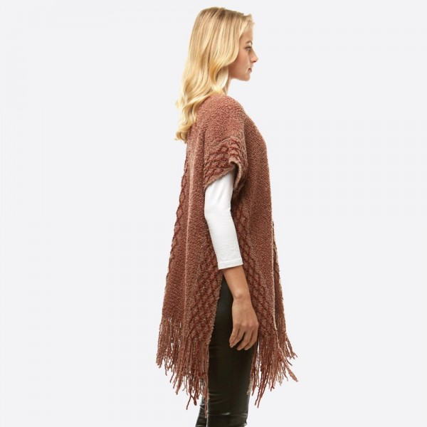 """Women's Chenille Knit Shawl Featuring Fringe Tassel Trim.  - One size fits most 0-14 - Approximately 33"""" L - 100% Polyester"""