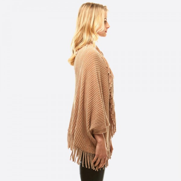 """Women's Solid Color Chenille Knit Shrug/Shawl Featuring Tassel Trim.  - One size fits most 0-14 - Approximately 36"""" L - 100% Polyester"""