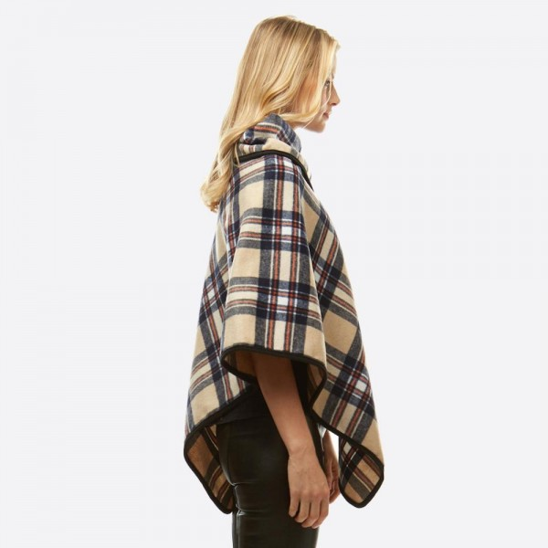"""Plaid Print Turtleneck Poncho Featuring Snap & Button Details.  - One size fits most 0-14 - Approximately 34"""" L - 100% Polyester"""