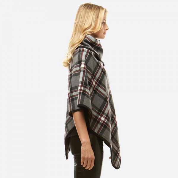"Plaid Print Turtleneck Poncho Featuring Snap & Button Details.  - One size fits most 0-14 - Approximately 34"" L - 100% Polyester"