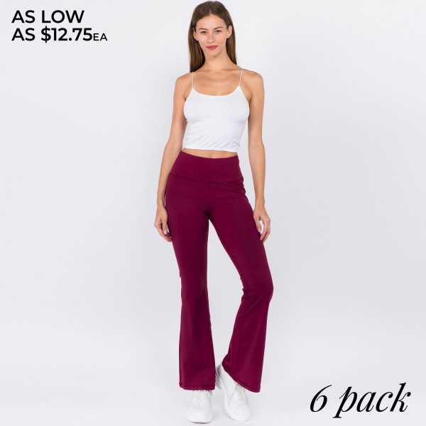 "Women's Active Solid Color High Rise Flare Yoga/Athletic Pants.  • High rise waistband with interior coin pocket for keys or cards  • Flared hem  • 4-way stretch fabric for a move-with-you feel  • Moisture wicking  • Soft supplex nylon-blend fabric with a cotton feel  • Flatlock seams prevent chafe while triangle gusset eliminates camel toe  • Fits like a glove  • Full length design  • Imported   - Pack Breakdown: 6pcs / pack - Sizes: 2S / 2M / 2L - Inseam approximately 31"" in length - Composition: 87% Nylon, 13% Spandex"