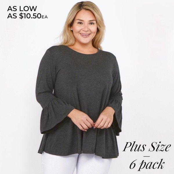 "Women's Plus Size Solid Color Bell Sleeve Tunic Top. (6 Pack)  • 3/4 length bell sleeves  • Round neckline  • Relaxed fit  • Pullover styling  • Soft and comfortable fabric  • Imported   - Pack Breakdown: 6pcs/pack - Sizes: 2-XL / 2-1X / 2-2X - Approximately 28"" L - Composition: 62% Polyester, 34% Rayon, 4% Spandex"
