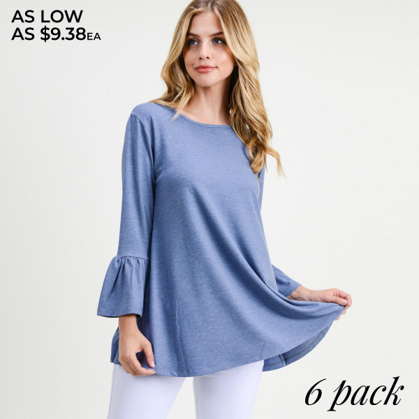 "Women's Solid Color Bell Sleeve Tunic Top. (6 PACK)  • 3/4 length bell sleeves  • Round neckline  • Relaxed fit  • Pullover styling  • Soft and comfortable fabric  • Imported   - Pack Breakdown: 6pcs/pack - Sizes: 2-S / 2-M / 2-L - Approximately 28"" L  - Composition: 62% Polyester, 34% Rayon, 4% Spandex"